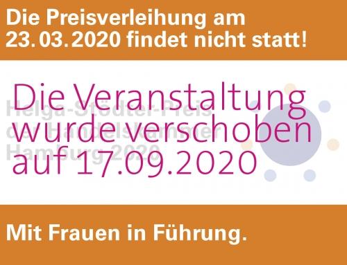 Helga-Stödter-Preis 2020 | Preisverleihung verschoben!